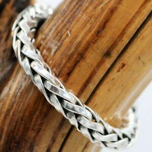 "Vtg MASSIVE Mexico Sterling Braided Link Bracelet 55 Grams 7.75"" 10 mm TAXCO"