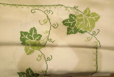Vintage Tablecloth Off White Green Grape leaves cross stitch + 8 napkins