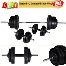 Barbell 2 Dumbbell Set 60,5kg W/ 16 Weight Discs Workout Home Gym Fitness UK