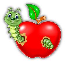 Roter Apfel mit grünem Wurm - Tuning Auto Aufkleber PKW Sticker Humor 100 x 94mm
