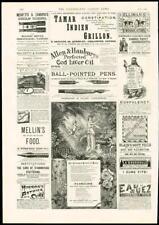 1887 ANTIQUE PRINT-Publicité BENSONS Novelties Broche, diamants, Pins (005)