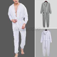 Men's One Piece Pajamas Sleepwear Bodysuits All in One Hooded Jumpsuit Nightwear