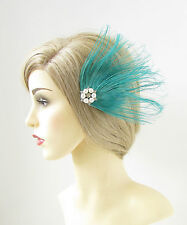 Turquoise Blue Peacock Feather Fascinator Hair Clip Silver Vtg 1920s White 151