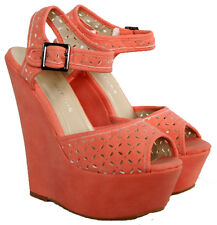 "LADIES CORAL FAUX SUEDE 6"" WEDGE HEEL PLATFORM SANDAL WITH ANKLE STRAP SIZES 3-8"