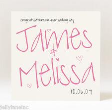 Handmade  Personalised Couples Names  Wedding Card