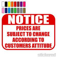 Notare i prezzi sono soggette a modifiche Divertenti Novità SHOP muro VETROFANIA / Decalcomania