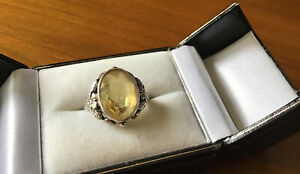 ANTIQUE 1900s BERNARD INSTONE Citrine and silver ring Arts & Crafts Small Size