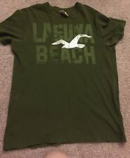 Men's Short Sleeve Green Tshirt Hollister With Logo In Front Size M