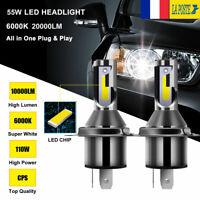 2x 55W H4 haute/basse LED ampoule 20000LM CSP Chip lampe tout-en-un kit 6000K