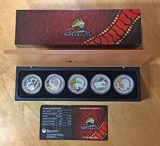 2010 $1 Discover Australia The Dreaming Series 5-Coin Silver Proof Set Orig. Box
