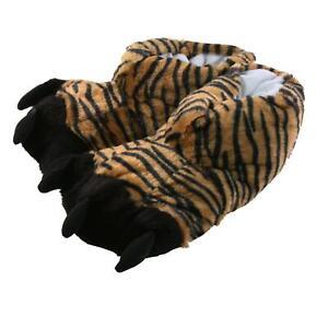 Tierhausschuhe Hausschuhe Tiger Schwarz Pantoffel Plüsch Krallen Schlappen