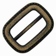 BROWN DOUBLE LOOP STRAP SLIDER BUCKLE (PAIR) 40mm