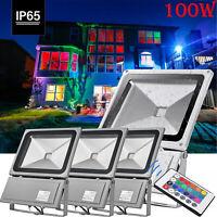 4X 100W RGB LED Fluter Flutlicht Garten Mit Fernbedienung Außenstrahler IP65