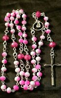 Beautiful feminine pink catholic rosary prayer beads necklace EASTER SALE