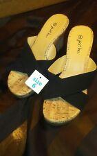 Just be. Women's Cork Wedge Sandals Slip-On Mule Black sz 6 Nwt Nos