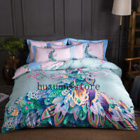 4pcs 100% Cotton Printed Colourful Peacock Bedding Set Duvet Cover Bed Sheet