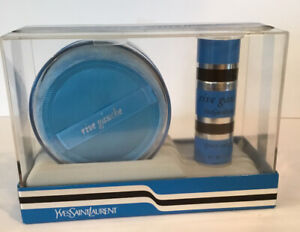 Vintage RIVE GAUCHE YVES SAINT LAURENT Powder Spray Cologne Gift Set SEALED a1