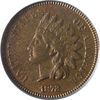 1872 Indian Cent PCGS MS64RB Great Eye Appeal Nice Luster