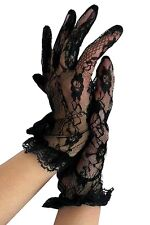 Krautwear Elegante kurze Spitzen Finger Handschuh + Blumenmuster