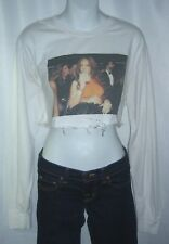 Rihanna Vintage Style Long Sleeve Tee Shirt Crop Top Handmade Distressed Grunge