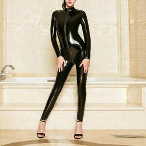 US Latex Leather Shiny Glossy Bodysuit Zipper Crotch Catsuit Jumpsuit Lingerie