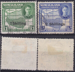 Somaliland Protectorate 1951 KGVI 1,2 R. Overprint Map SG-113-14 Used- US Seller