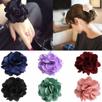 Women's Hair Band Rope Elastic Rose Flower Ponytail Holder Scrunchie Accessories