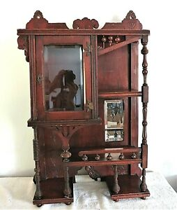 Antique Stick Ball & Spool Victorian Style Wall Display/Curio Cabinet