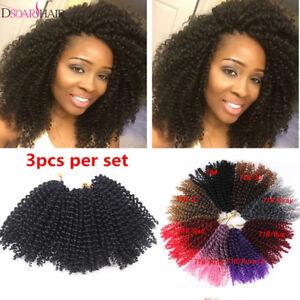 "3Pcs/Set 8"" Mali bob Curly WeaveSynthetic Twist Braid Crochet Hair Extensions"