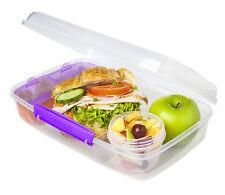 Sistema Klip It Bento Lunch Box to Go Purple Clip Multi Compartment Work School