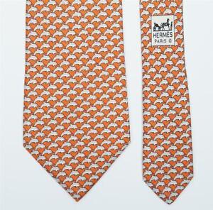 HERMES TIE 5022 PA Dolphin on Orange Classic Silk Necktie