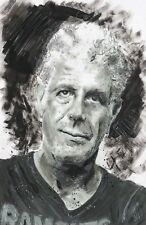 "11x17"" Anthony Bourdain Original Ink Wash Painting Portrait Memorial Wall Art"
