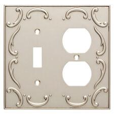 Nickel Switch Duplex Wall Plate French Lace Brainerd W10555