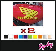 2 x HONDA Wings Vinyl Tank Badges / Decals / Stickers -PREMIUM QUALITY Quad 100