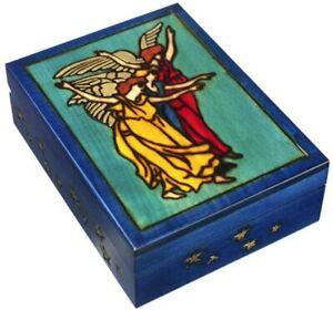 TAROT Box Handmade Wooden Keepsake Sephiroth Angels Tarot Card Holder Box