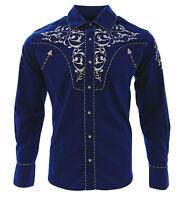 Cowboy Shirt Camisa Vaquera Western Wear El General Long Sleeve Blue