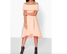 Ladies New Off The Shoulder Double Layer Skater Midi Blush  Dress Size 10 UK