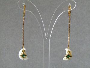 Moon Mother of Pearl,Green Cubic Zirconia Stars Huggie Hoop Gold Plated Earrings