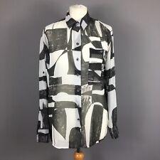 Finery Off White Grey Abstract Semi Sheer Smart Chiffon Blouse Size 10