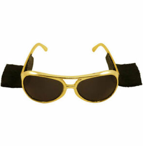 Elvis Gold Glasses With Sideburns RocknRoll 70's Fancy Dress Accessory Prop