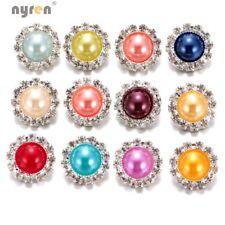12pcs/lot Rhinestone Imitation Pearl Charms 18mm Snap Button Fit Snap Jewelry