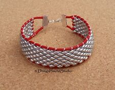 Peyote / Leather Cord Beaded Bracelet - Silver / Red