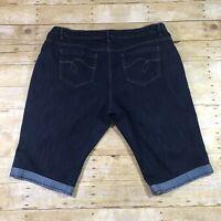 Avenue Denim Straight Leg Crop Capri Jeans Womens Plus Size 24P Dark Wash Cuffed