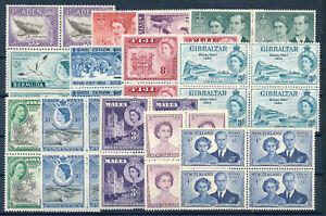 1953-54 ROYAL VISIT OMNIBUS SET (10 COUNTRIES) BLOCKS OF 4 MNH