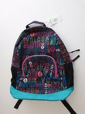 Volcom Girls Field Trip Black Backpack Book Bag Laptop Compartment School Teal
