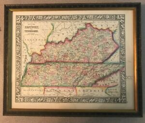 Vintage 1860  KENTUCKY TENNESSEE County Map ~ Old Antique Original Atlas Map