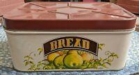 Vintage Bread Box Breadbox Cheinco Chicago Mid-century Metal Tin Lid Fruit Brown