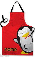 PERSONALIZZATO CARTONE Pinguino Bambini Grembiule cottura al forno PITTURA acqua