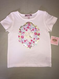 NEW JUICY COUTURE 24 MONTHS T SHIRT WHITE JUICY BABY GOLD PINK PURPLE FLOWERS