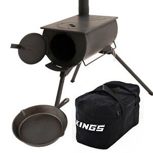 Adventure Kings Camp Oven/Stove + Cast Iron Skillet Pan + 40L Duffle Bag